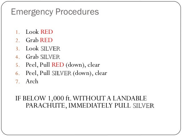 Emergency Procedures 36 1. Look RED 2. Grab RED 3. Look SILVERSILVER 4. Grab SILVERSILVER 5. Peel, Pull RED (down), clear ...