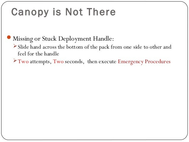 Canopy is Not There Missing or Stuck Deployment Handle: Slide hand across the bottom of the pack from one side to other ...