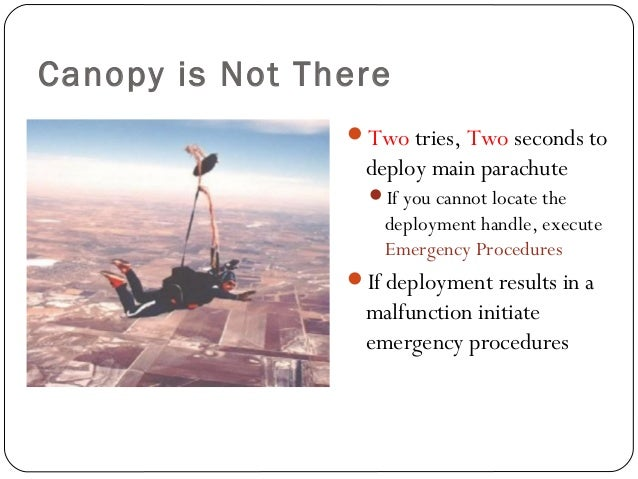 Canopy is Not There Two tries, Two seconds to deploy main parachute If you cannot locate the deployment handle, execute ...