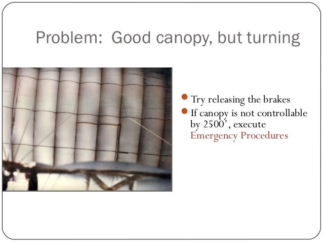 Problem: Good canopy, but turning Try releasing the brakes If canopy is not controllable by 2500', execute Emergency Pro...