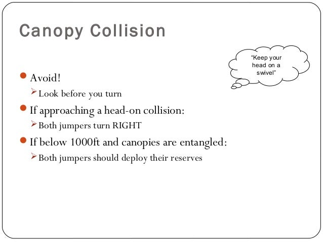 Canopy Collision Avoid! Look before you turn If approaching a head-on collision: Both jumpers turn RIGHT If below 100...