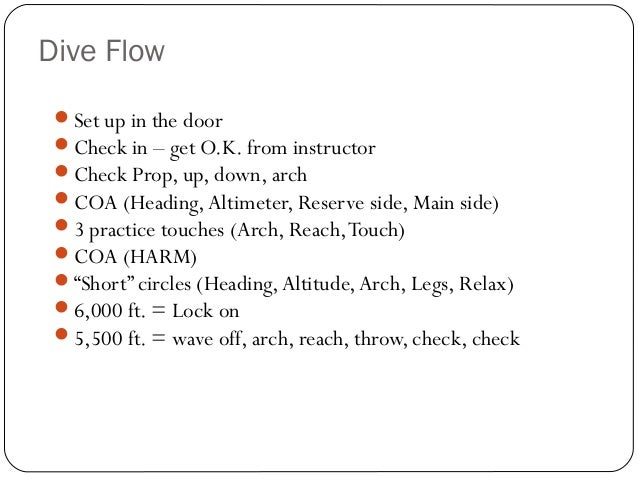 Dive Flow 52 Set up in the door Check in – get O.K. from instructor Check Prop, up, down, arch COA (Heading,Altimeter,...