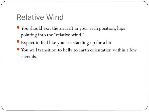 """Relative Wind You should exit the aircraft in your arch position, hips pointing into the """"relative wind."""" Expect to feel..."""