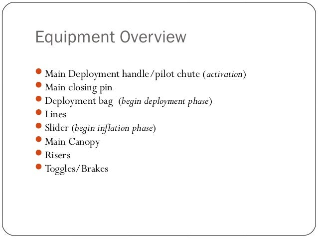 Equipment Overview Main Deployment handle/pilot chute (activation) Main closing pin Deployment bag (begin deployment ph...