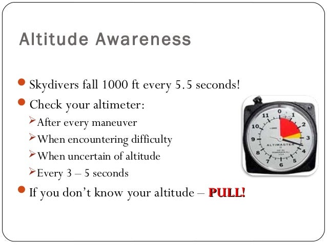 Altitude Awareness Skydivers fall 1000 ft every 5.5 seconds! Check your altimeter: After every maneuver When encounter...