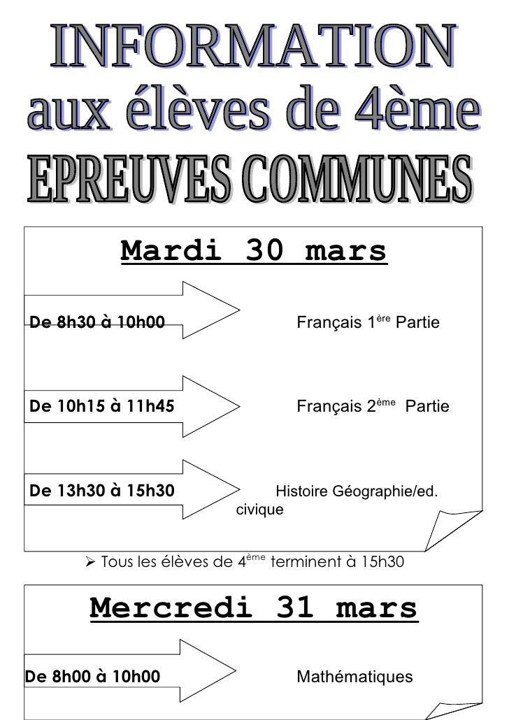 Mardi 30 mars De 8h30 à 10h00                   Français 1ère Partie    De 10h15 à 11h45                  Français 2ème Pa...