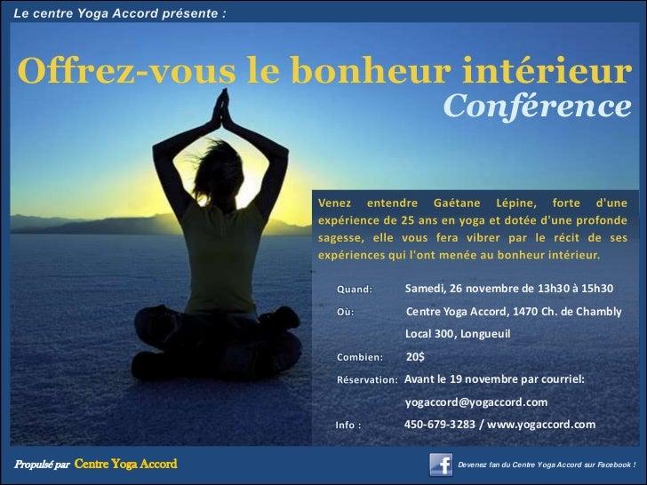 Conférence                                  Samedi, 26 novembre de 13h30 à 15h30                                  Centre Y...