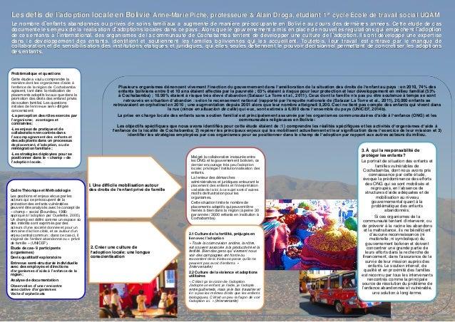 Les défis de l'adoption locale en Bolivie Anne-Marie Piché, professeure & Alain Droga, étudiant 1er cycle École de travail...