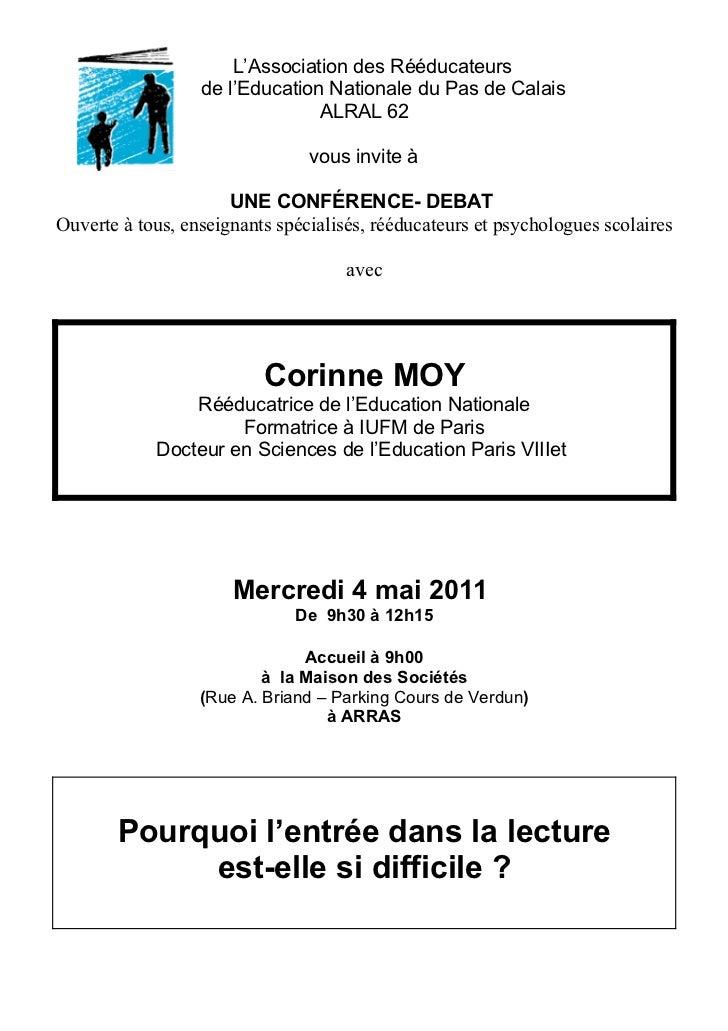 L'Association des Rééducateurs                  de l'Education Nationale du Pas de Calais                                A...