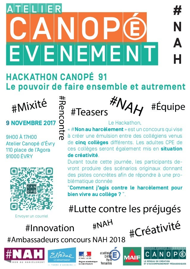 9 NOVEMBRE 2017 9H00 À 17H00 Atelier Canopé d'Évry 110 place de l'Agora 91000 ÉVRY Le Hackathon, « #Non au harcèlement » e...