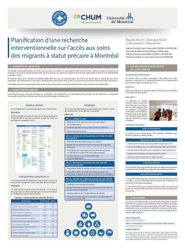 Planification d'une recherche interventionnelle sur l'accès aux soins des migrants à statut précaire à Montréal  1. Cont...