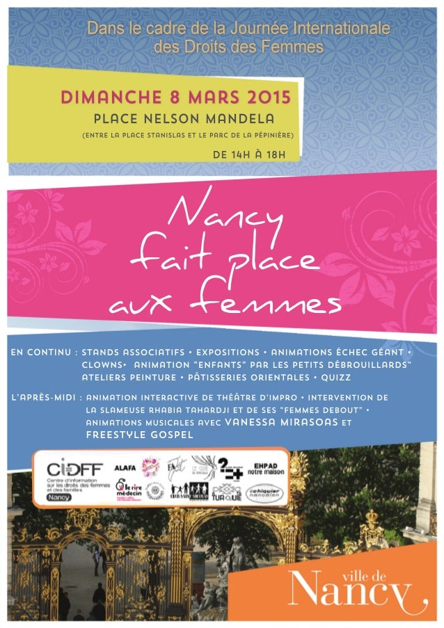 Affiche nancy fait place aux femmes   dimanche 8 mars 2015