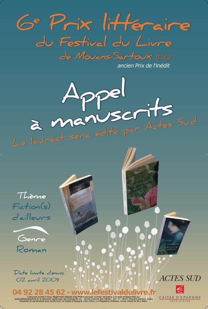 Affiche prix litt raire du festival du livre de mouans sartoux 2009 - Salon du livre mouans sartoux ...