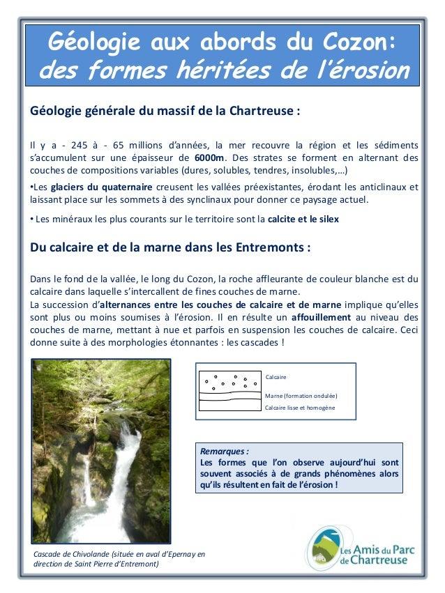 Géologie aux abords du Cozon:  des formes héritées de l'érosion Géologie générale du massif de la Chartreuse : Il y a - 24...