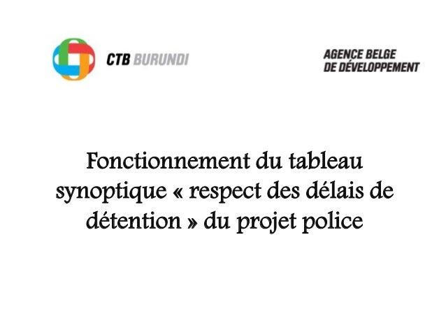 Fonctionnement du tableau synoptique « respect des délais de détention » du projet police