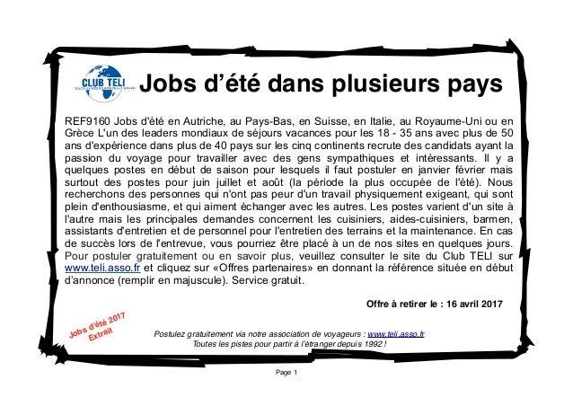 Page 1 Postulez gratuitement via notre association de voyageurs : www.teli.asso.fr Toutes les pistes pour partir à l'étran...