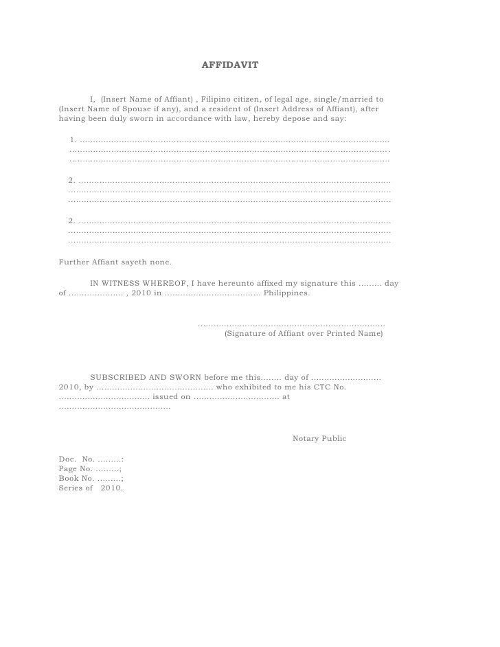 AFFIDAVIT I, (Insert Name of Affiant) , Filipino citizen, of legal age, single/married to (Insert Name of Sp...