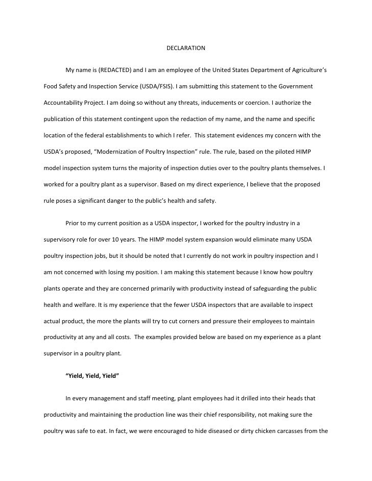 DECLARATION        Mynameis(REDACTED)andIamanemployeeoftheUnitedStatesDepartmentofAgriculture'sFoodSafet...