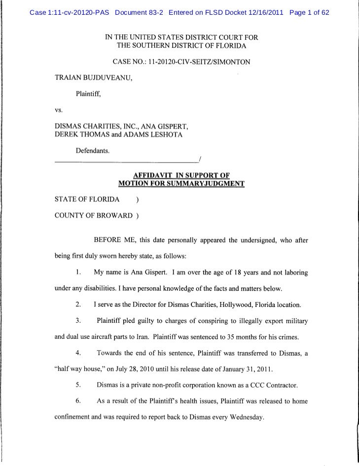 Affidavit In Support Of Motion For Summaryjudgment