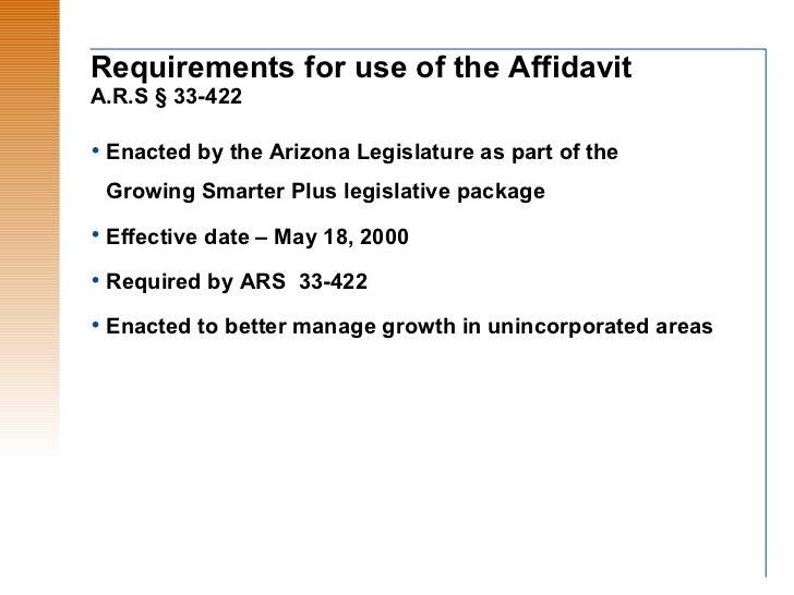 Arizona Affidavit Of Disclosure