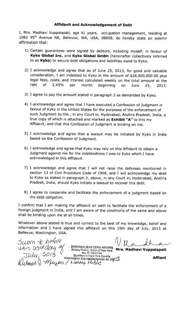 Acknowledgement of debt form erkalnathandedecker affidavit and acknowledgement of debt by mrs madhavi vuppalapati tow maxwellsz