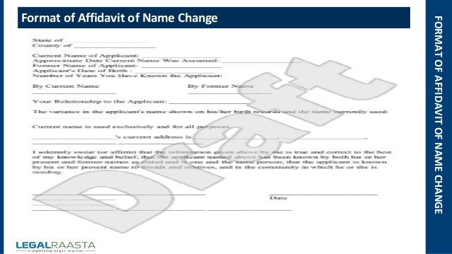Affidavit of name change format template – Affidavit Sample Format