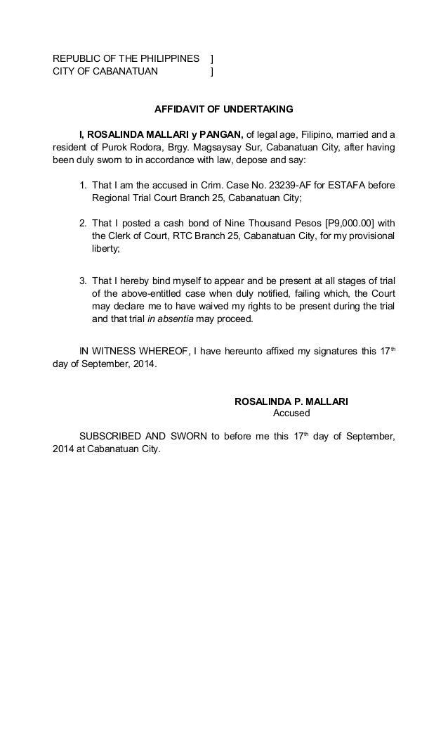 REPUBLIC OF THE PHILIPPINES ] CITY OF CABANATUAN ] AFFIDAVIT OF UNDERTAKING  I, ROSALINDA MALLARI  How To Write A Legal Affidavit