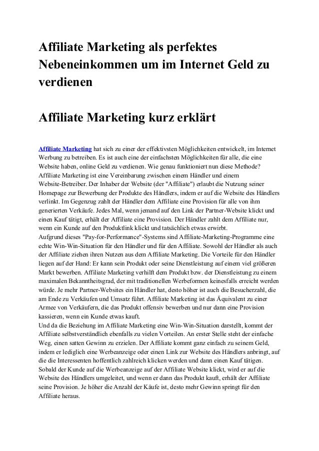Affiliate Marketing als perfektes  Nebeneinkommen um im Internet Geld zu  verdienen    Affiliate Marketing kurz erklärt   ...
