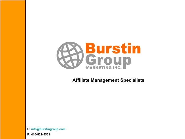 """ Affiliate management solutions"" Affiliate Management Specialists E:  [email_address] P: 416-822-5531"