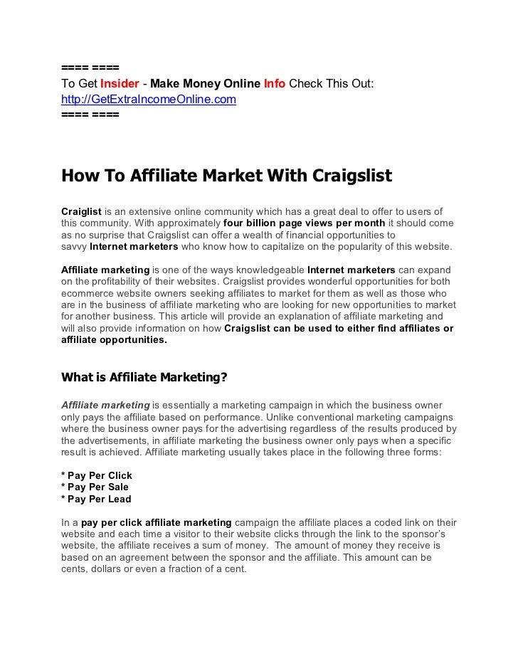 How To Do Affiliate Marketing Through Craigslist For Profit