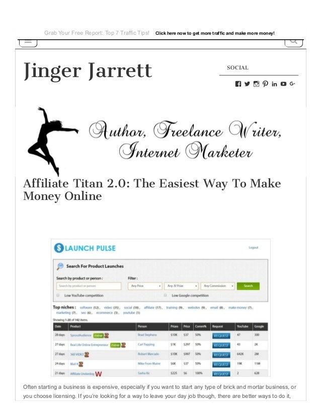 Jinger Jarrett SOCIAL          Affiliate Titan 2.0: The Easiest Way To Make Money Online Oftenstartingabusines...