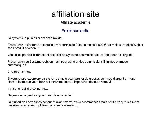 """affiliation siteAffiliate academieEntrer sur le siteLe système le plus puissant enfin révélé…""""Découvrez le Systeme explosi..."""