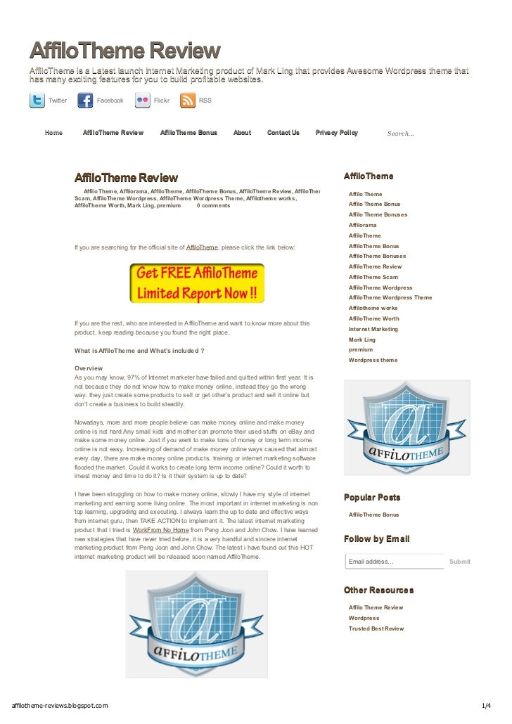 AffiloTheme Review     AffiloTheme is a Latest launch Internet Marketing product of Mark Ling that provides Awesome Wordpr...