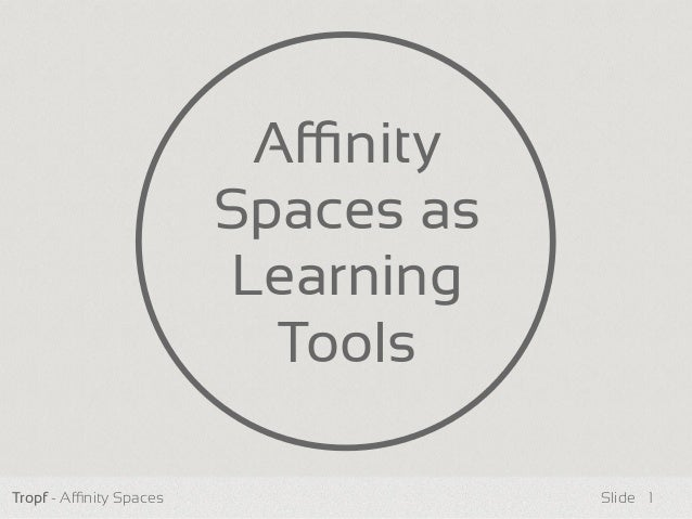 Tropf - Anity Spaces Slide Anity Spaces as Learning Tools 1