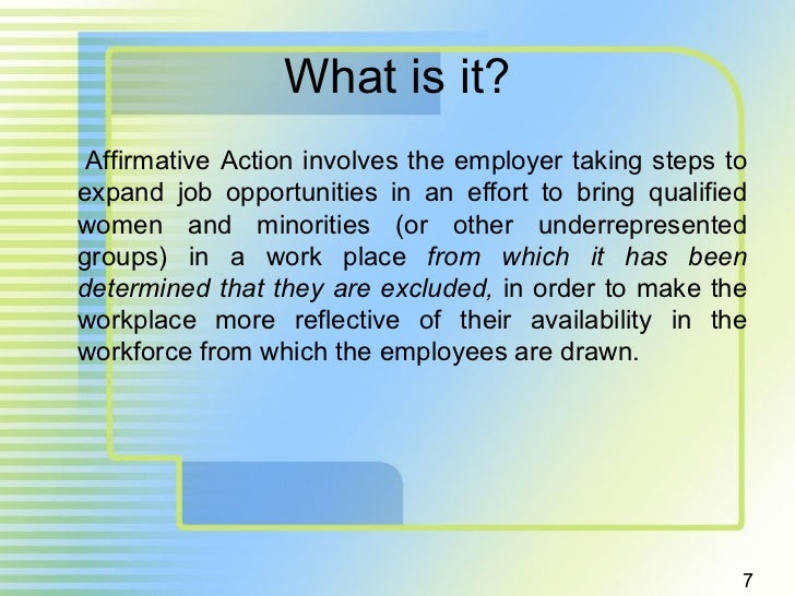 term paper affirmative action Introduction affirmative action began in 1965 when president johnson signed the executive order 11246 in to law the executive order prevents federal contractors from discriminating against any employee or applicant for employment because of race, color, religion, sex, or national origin.