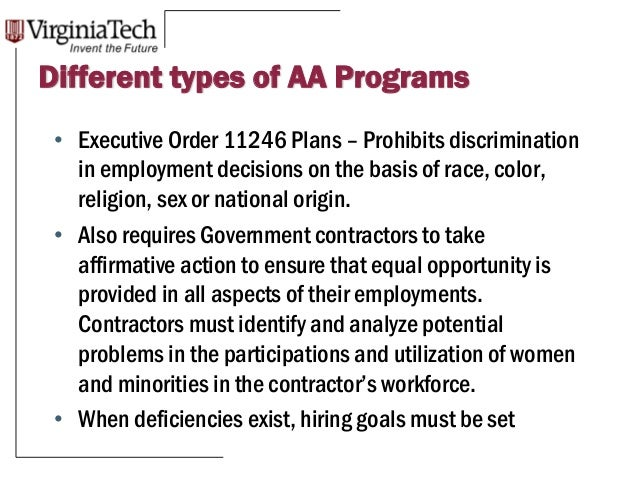 the three prime aspects of affirmative action Provided an affirmative action plan is precisely  1975, affirmative discrimination  the effects of america's three affirmative action programs on.