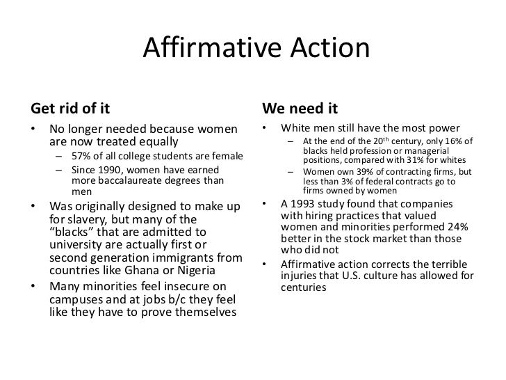 A need for affirmative action
