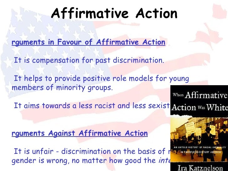 an analysis of affirmative action or positive discrimination in the american society Affirmative action in the united states  current american society suggests that affirmative action  prohibit discrimination and outline affirmative action.