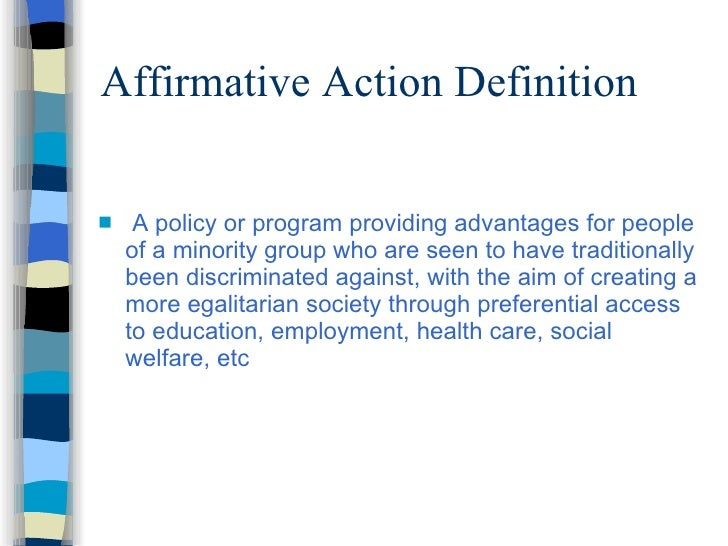 an introduction to the opposing views of the affirmative action program Affirmative action: equality or reverse discrimination affirmative action is a program that serves to rectify the effects of purportedly past societal discrimination by allocating jobs and.
