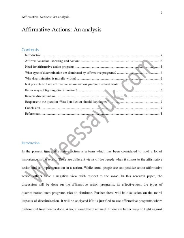 An analysis of the topic of the affirmative action