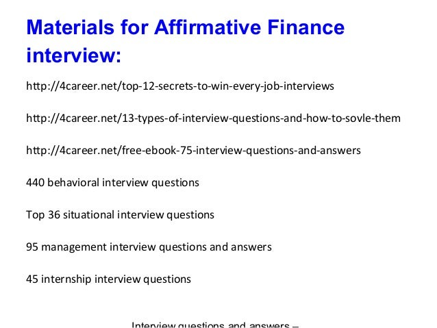 9 materials for affirmative finance interview