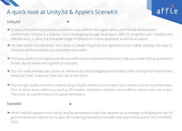 POV | Unity3d vs Apple Scenekit | Affle Enterprise