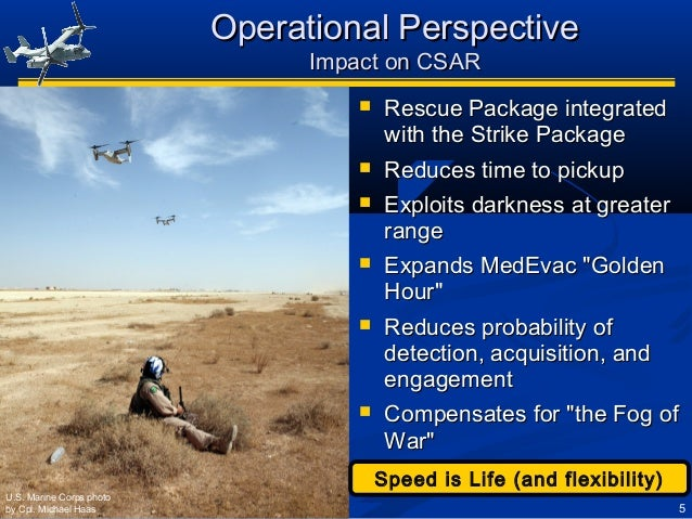 5 Operational PerspectiveOperational Perspective Impact on CSARImpact on CSAR  Rescue Package integratedRescue Package in...