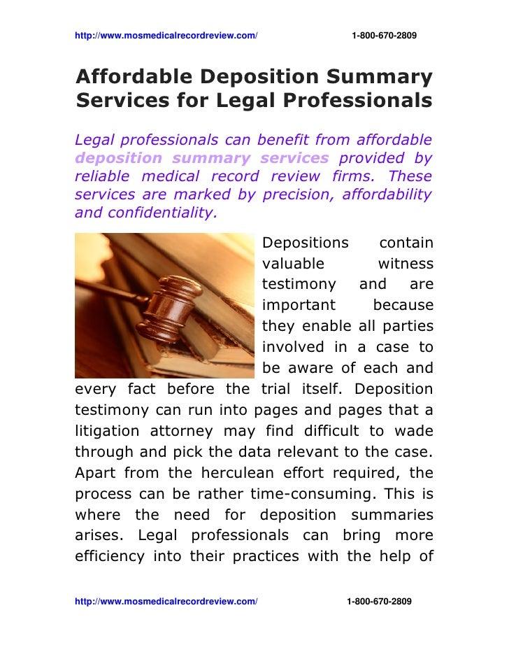 http://www.mosmedicalrecordreview.com/18006702809Affordable Deposition SummaryServ...