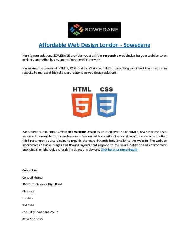 Affordable Web Design London - Sowedane Here is your solution…SOWEDANE provides you a brilliant responsive web design for ...