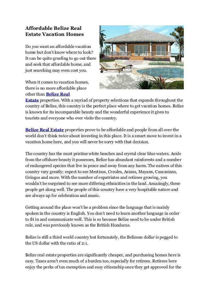 Affordable Belize Real Estate Vacation Homes