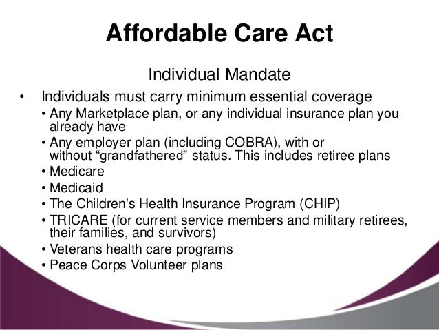 Affordable care act and its implications for our dental - Minimum essential coverage plan design ...