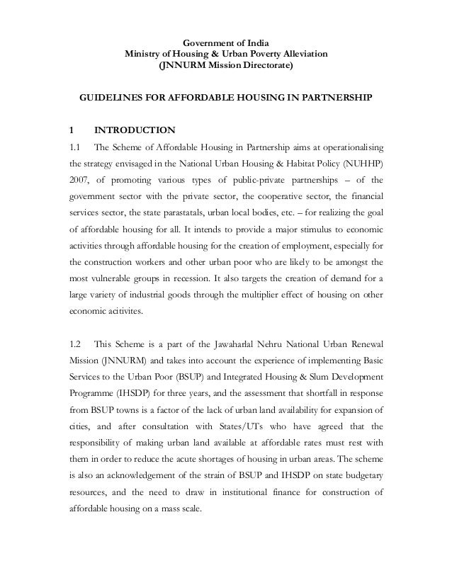 Government of India               Ministry of Housing & Urban Poverty Alleviation                       (JNNURM Mission Di...