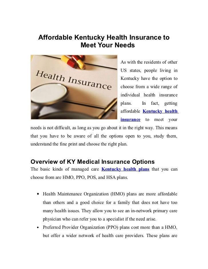 Affordable Kentucky Health Insurance to                Meet Your Needs                                                 As ...