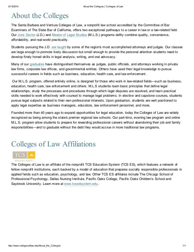 4/15/2014 About the Colleges | Colleges of Law http://www.collegesoflaw.edu/About_the_Colleges 1/1 About the Colleges The ...